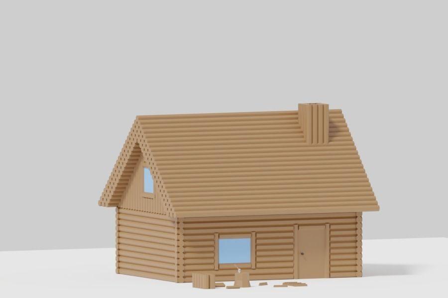 Simple Cartoon Log Cabin 3d Model Cgtrader
