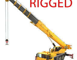 3d model mobile crane rigged