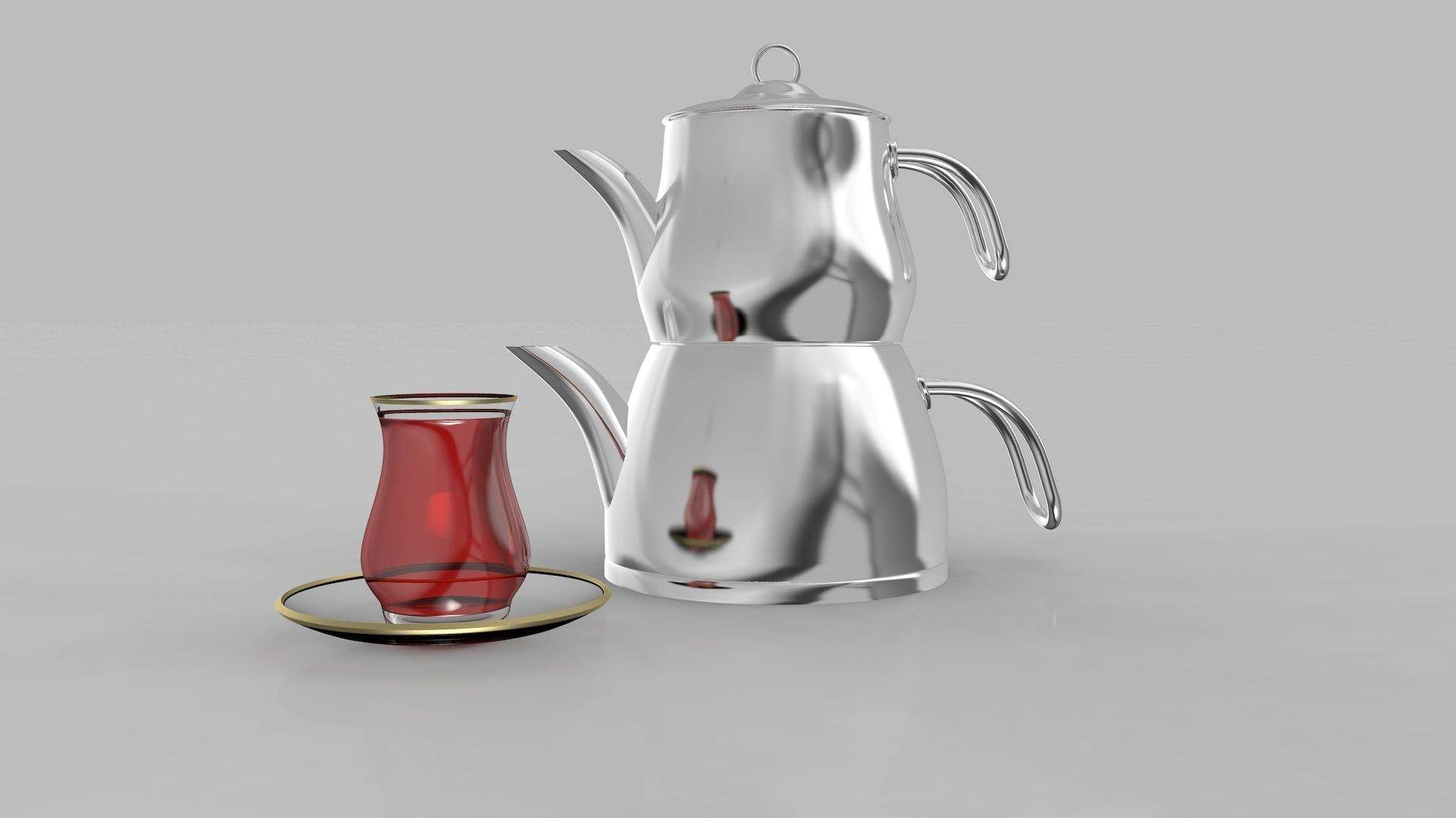 Steel Teapot and  Cup