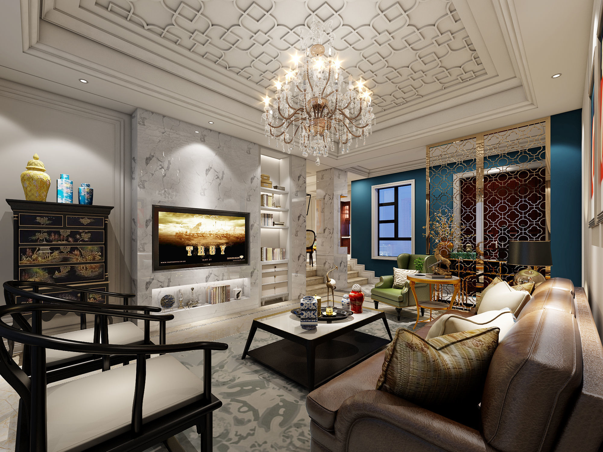 Living room bedroom dining room study complete house model ...