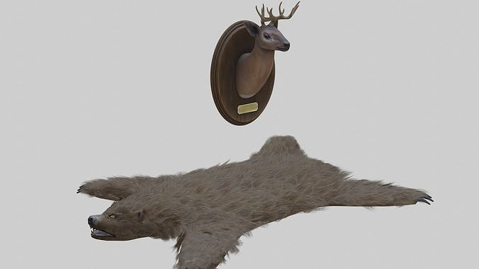 Taxidermied Deer Head Mount And Bear Rug With PBR Materials