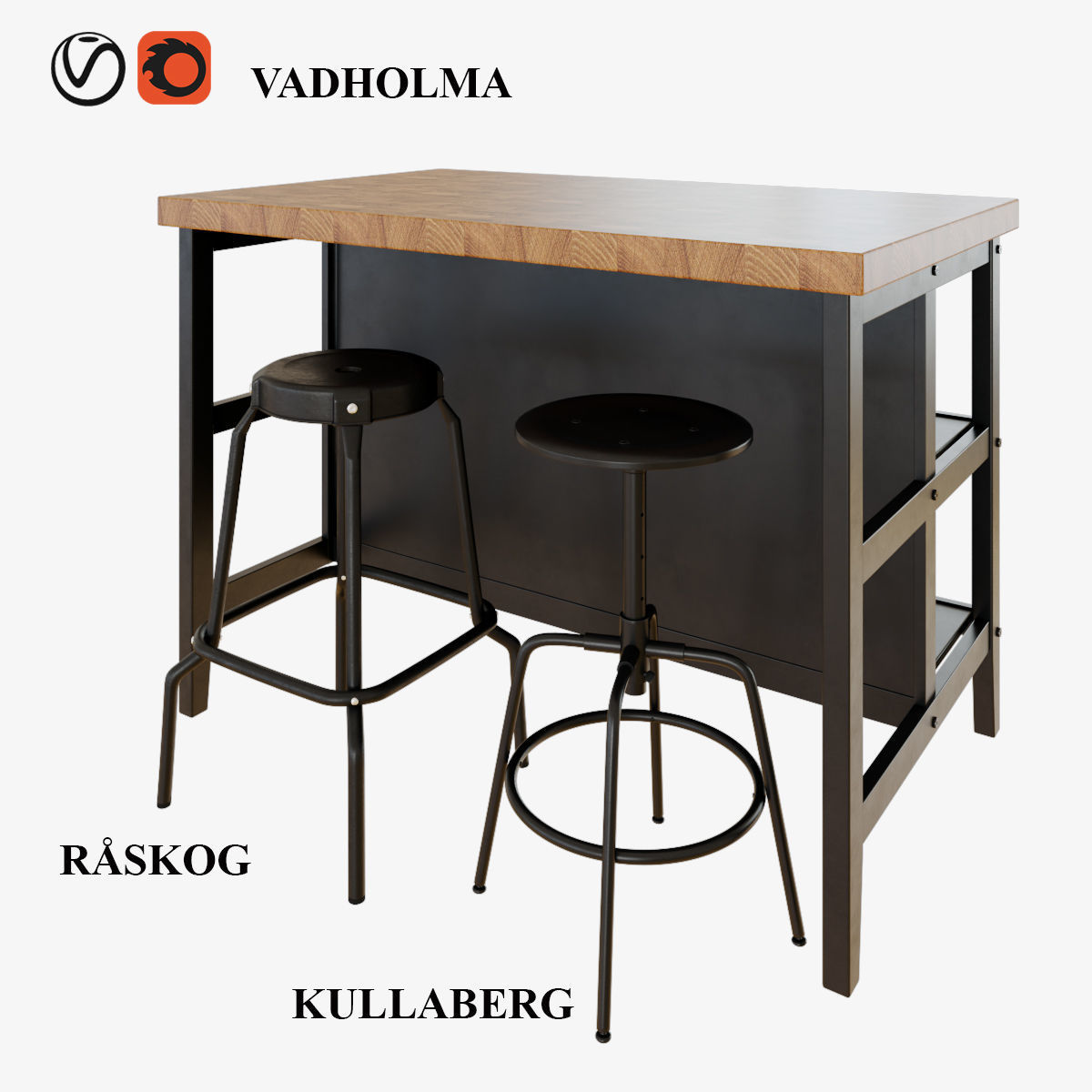 IKEA VADHOLMA kitchen table and stools | 3D model