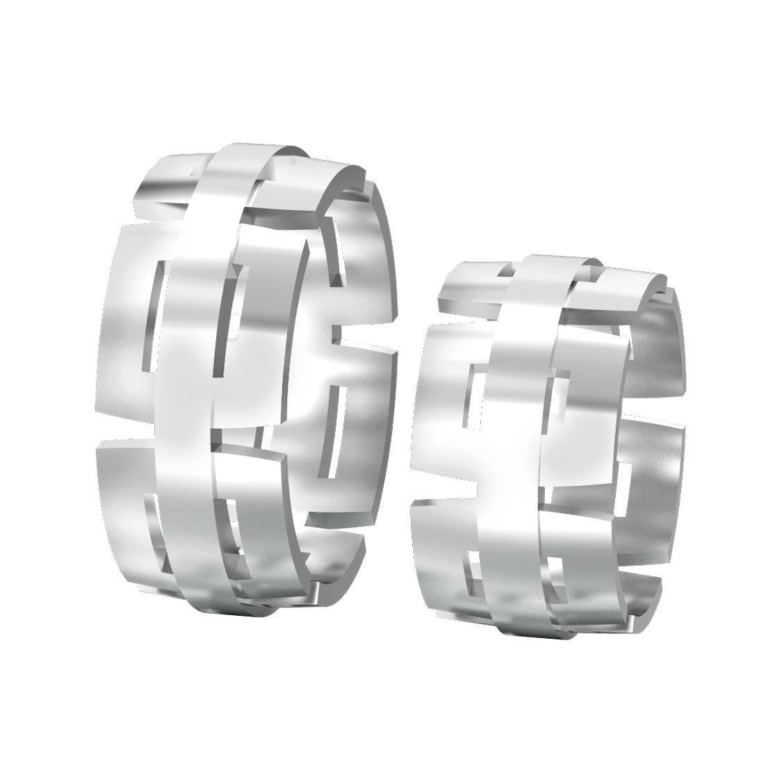 Model Set Of Two Geometric Wedding Rings