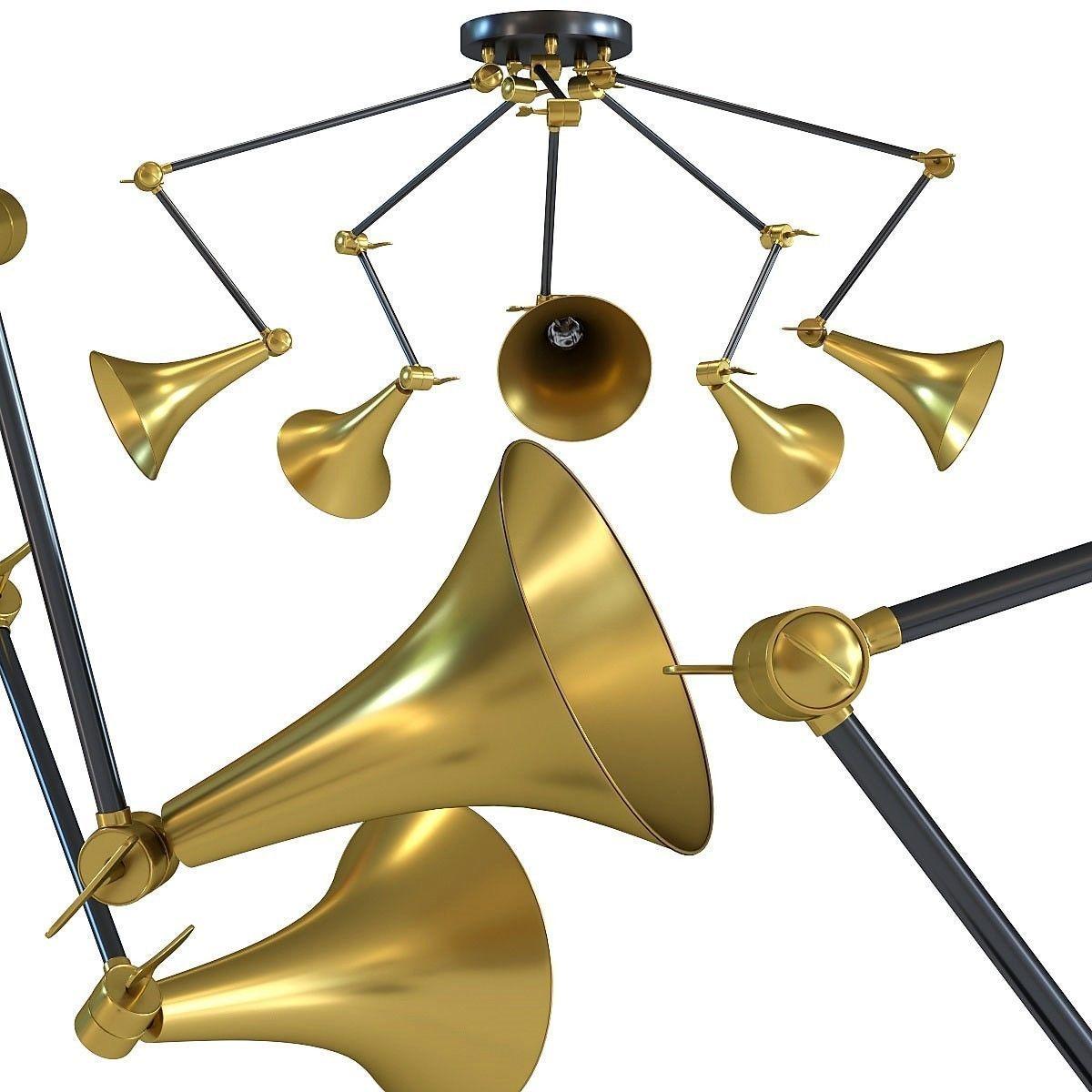 kare Pendant Lamp Trumpet Brass Spider 5-lite