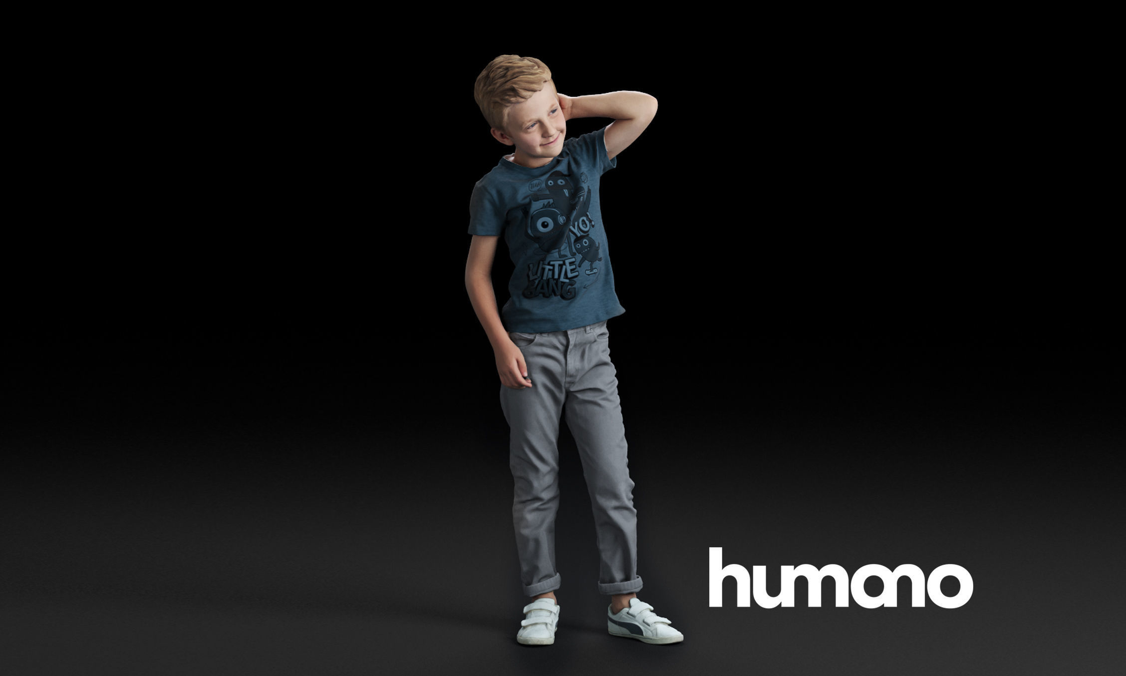 Humano Standing boy with hand behind his head 0505