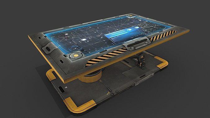 sci fi hologram table 3d model low-poly obj mtl 3ds fbx blend X ms3d 1