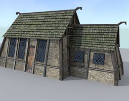 3d asset realtime medieval village house 2