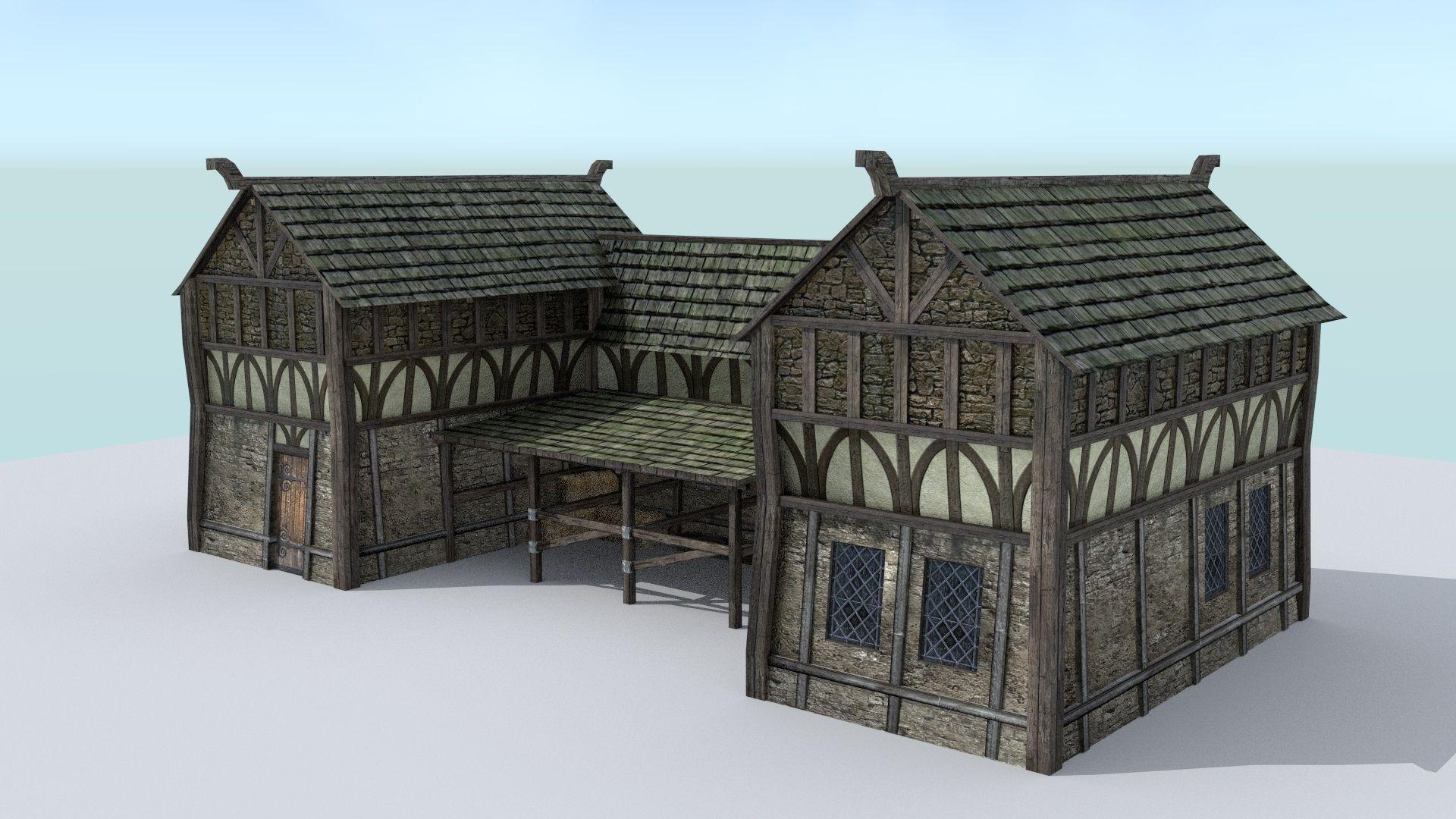 Medieval Village Stable 3D model   CGTrader for Medieval Stable  lp00lyp