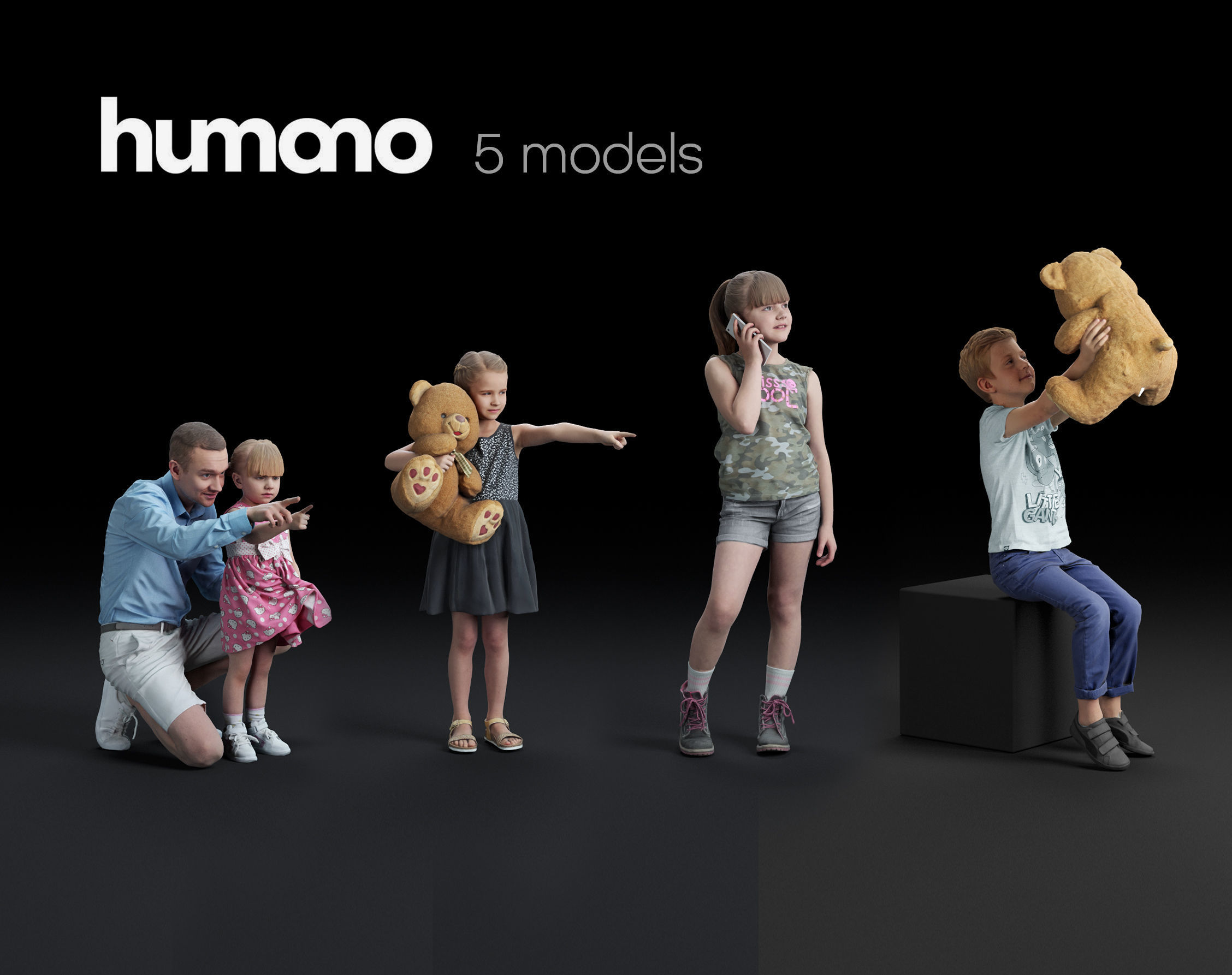 Humano 5-Pack - PEOPLE - CASUAL - HOME - 5x 3d models 05A