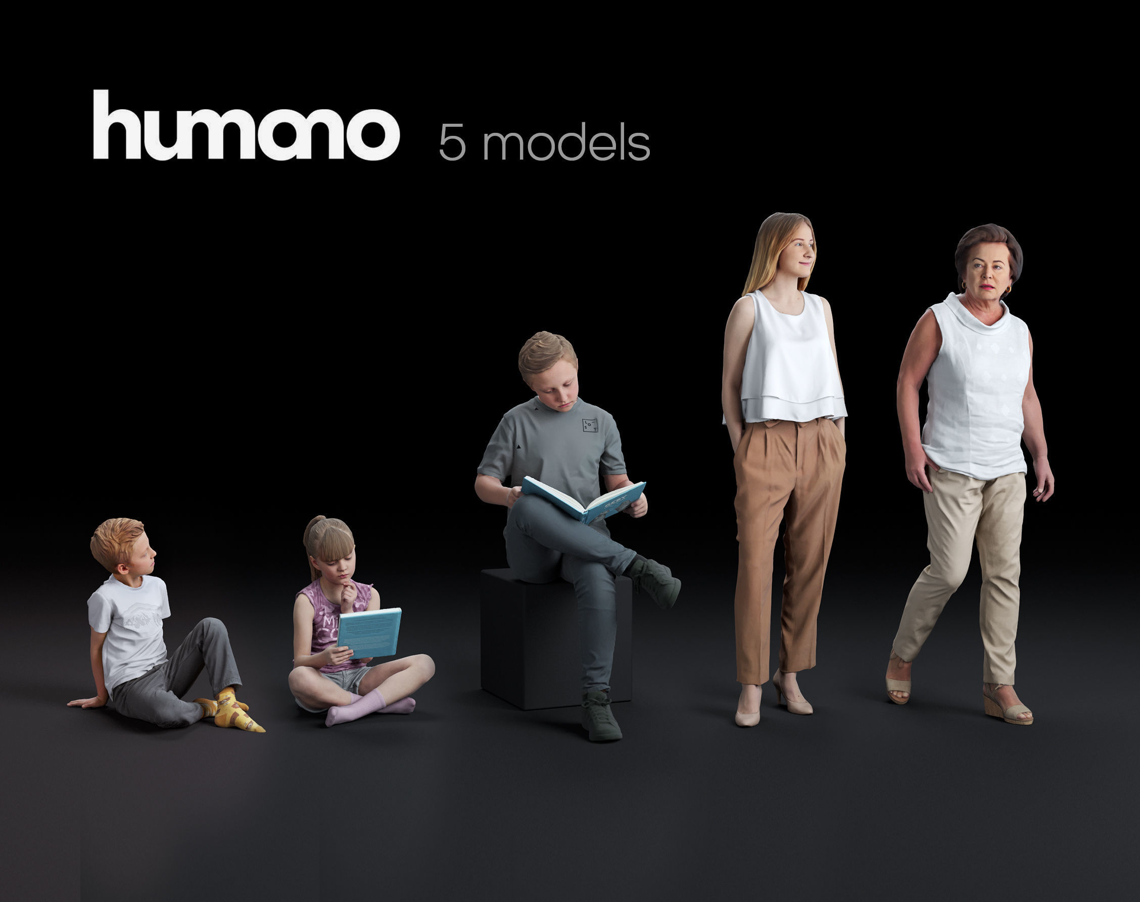 Humano 5-Pack - PEOPLE - CASUAL - HOME - 5x 3d models 050B