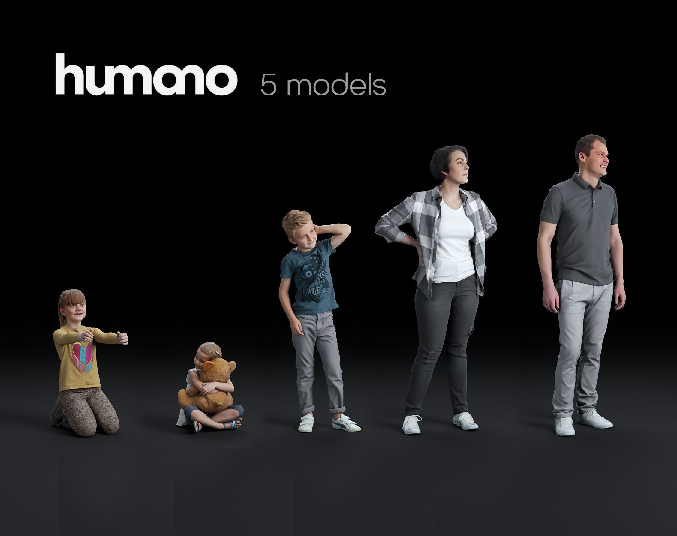 Humano 5-Pack - PEOPLE - CASUAL - HOME - 5x 3d models 05C