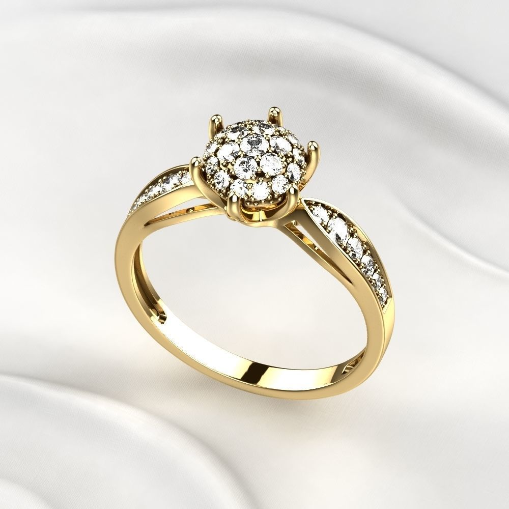 Gorgeous Golden Ring with Diamonds