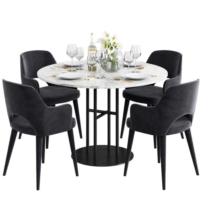 Coco Republic Flex Dining Table And Astor 3d Model 3