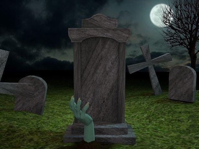 Scary Cemetery Scene