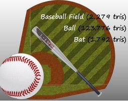 Baseball Field Bat and Ball 3D model