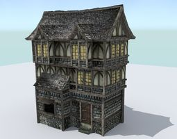 low-poly 3d asset medieval town house 3