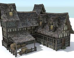 3D asset VR / AR ready Medieval Town House