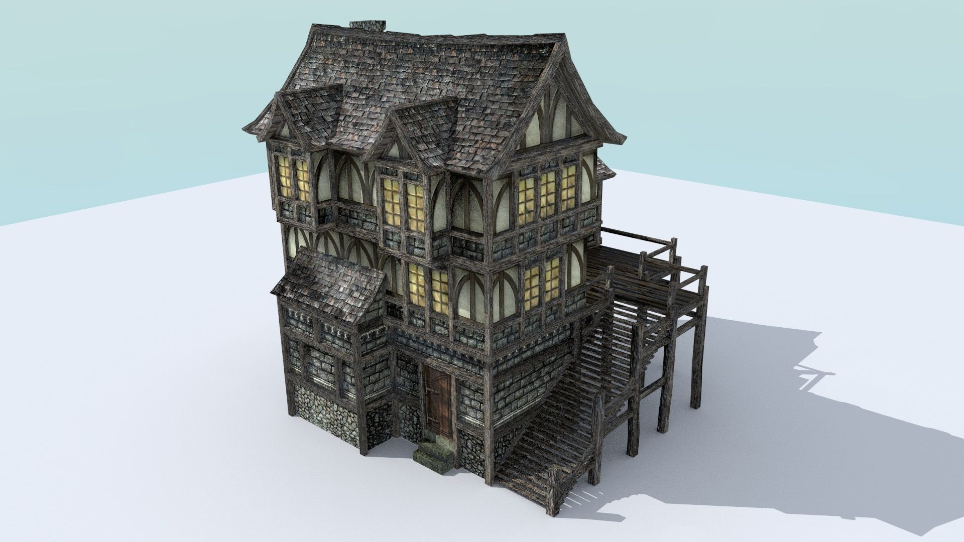 3d model medieval town house 6 vr ar low poly obj 3ds for House 3d model