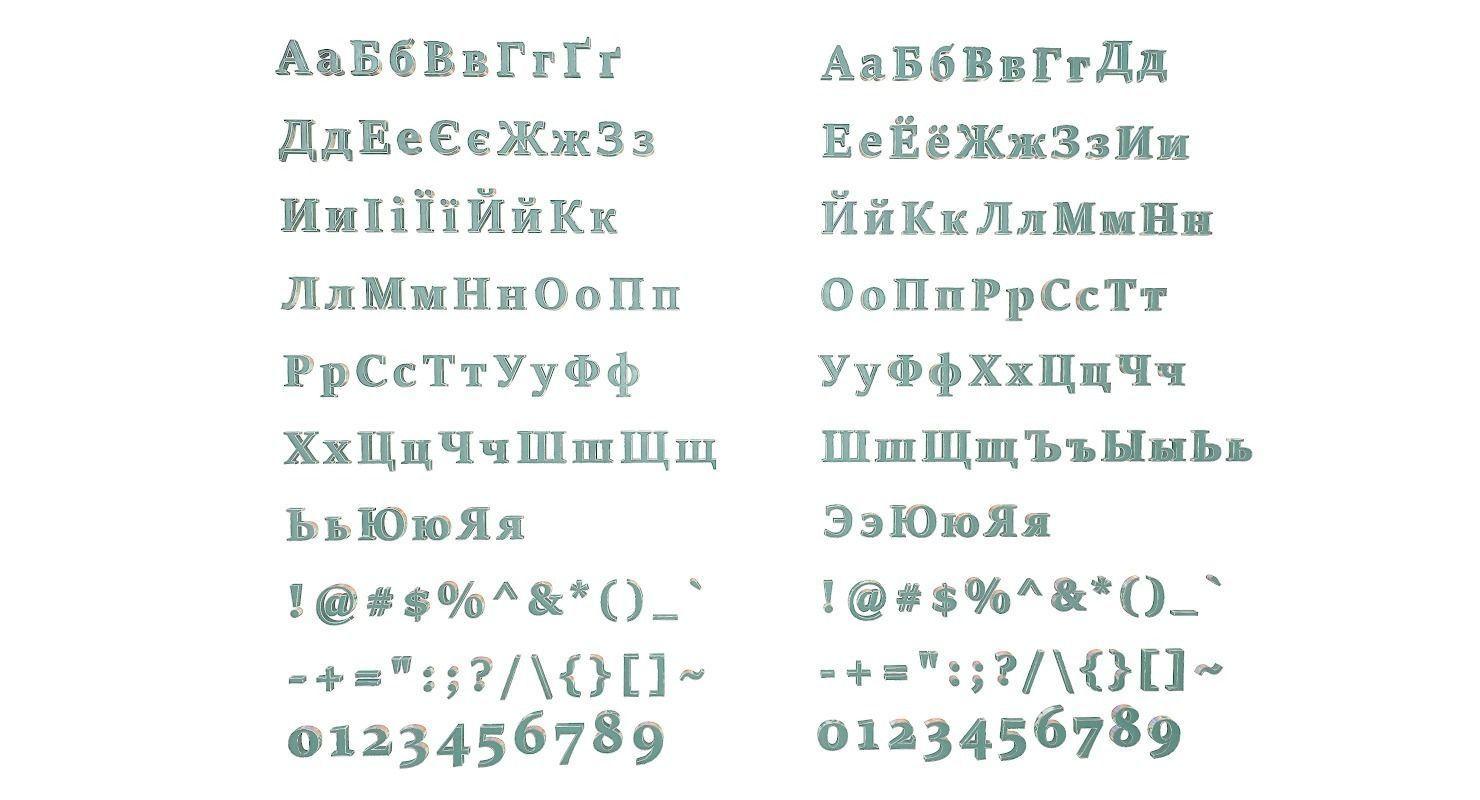 Russian and Ukrainian Letters - Steel Green