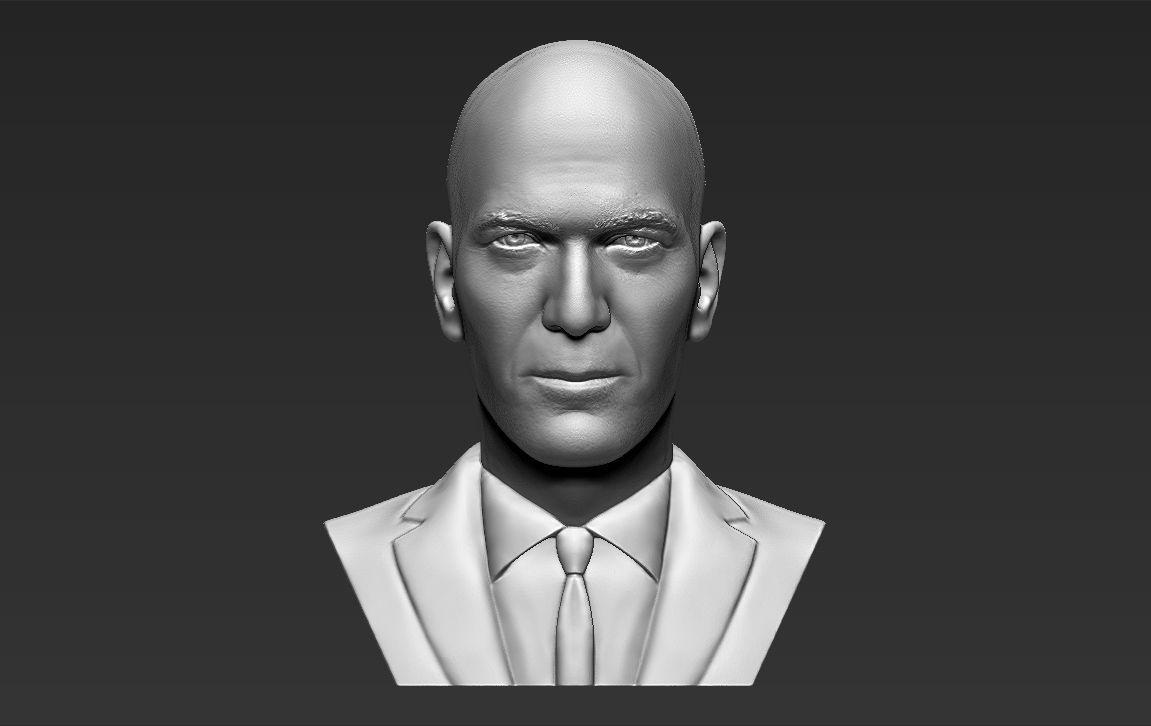 Zinedine Zidane bust 3D printing ready stl obj formats
