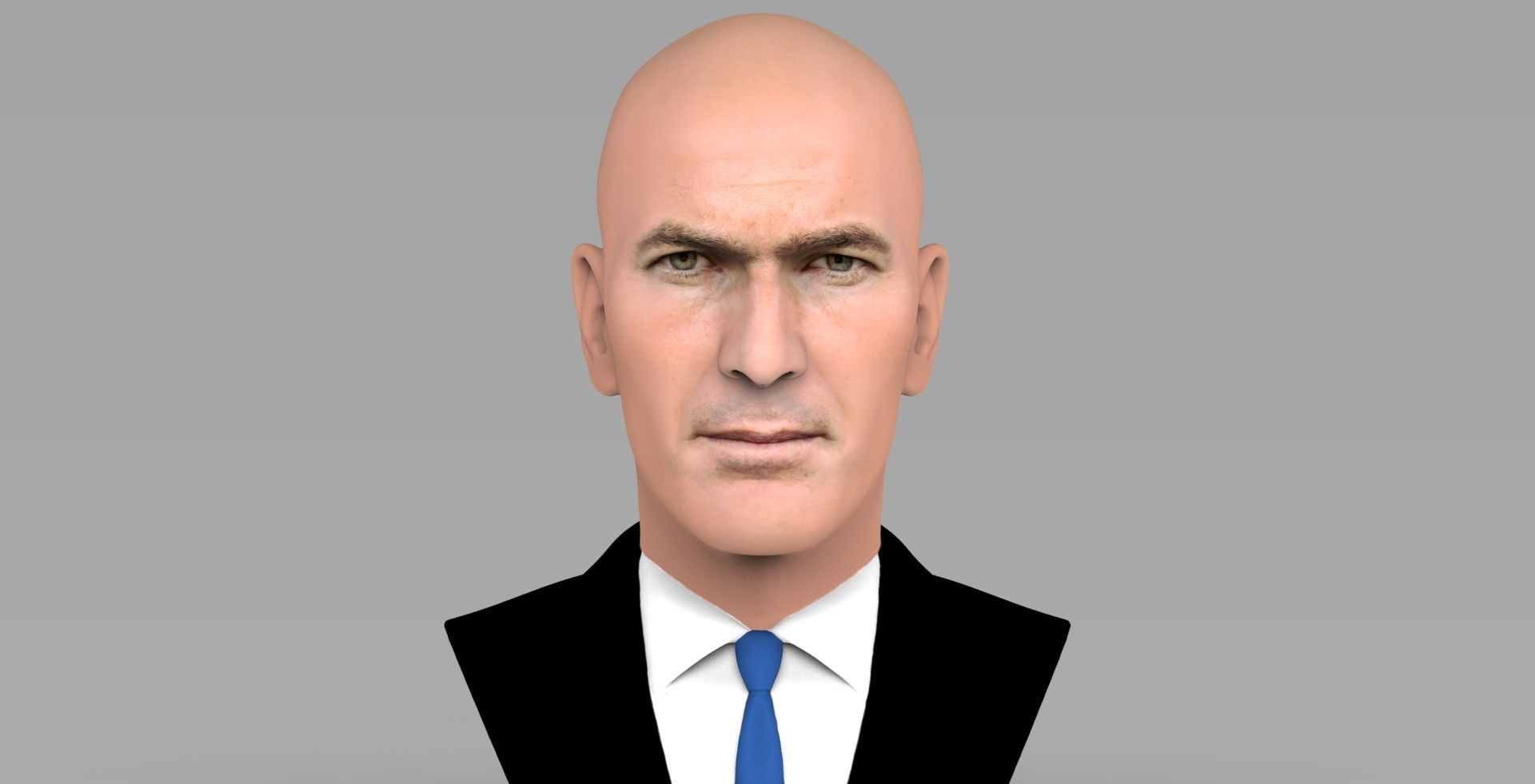 Zinedine Zidane bust ready for full color 3D printing
