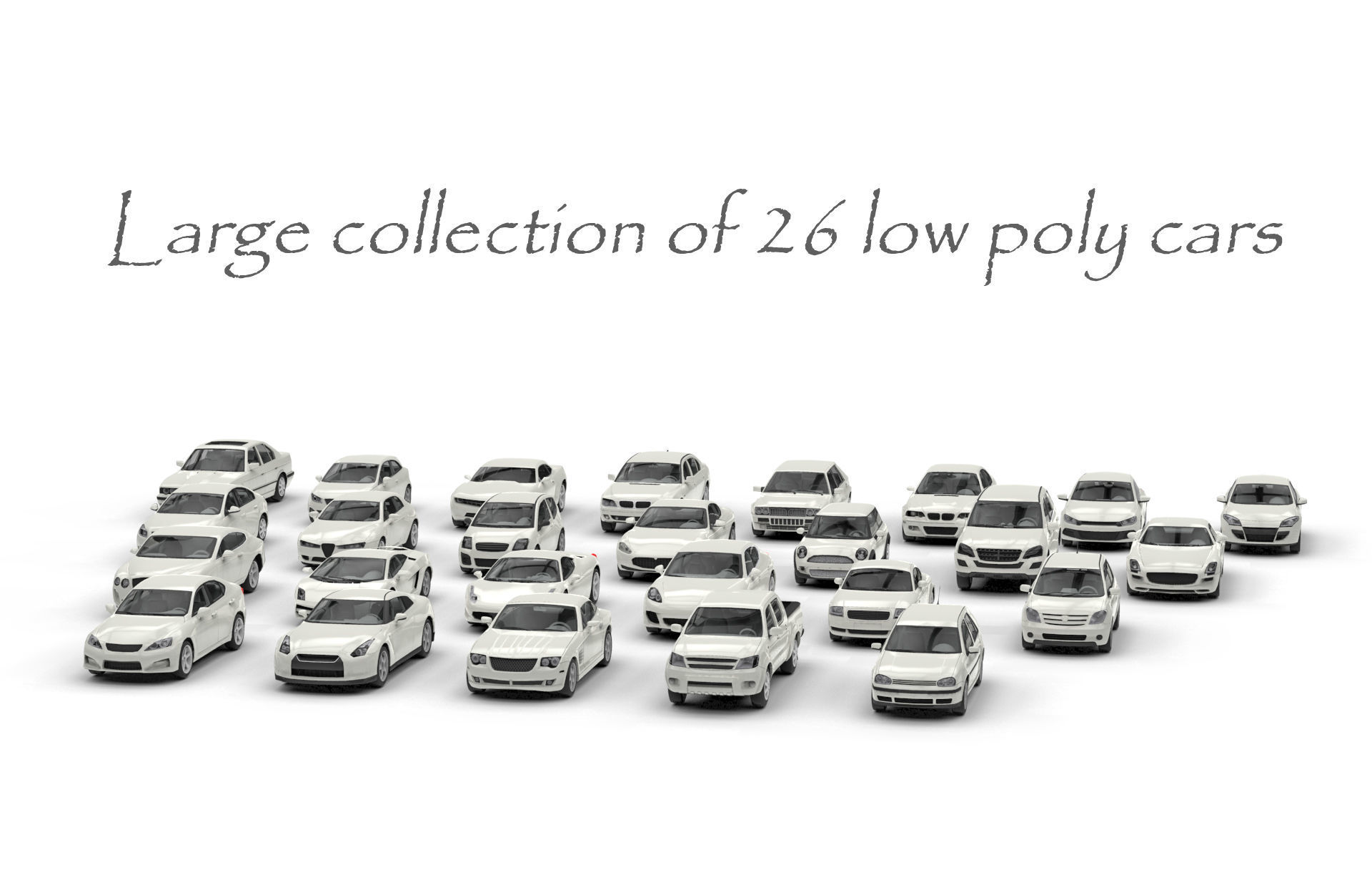 Large collection of 26 low poly cars