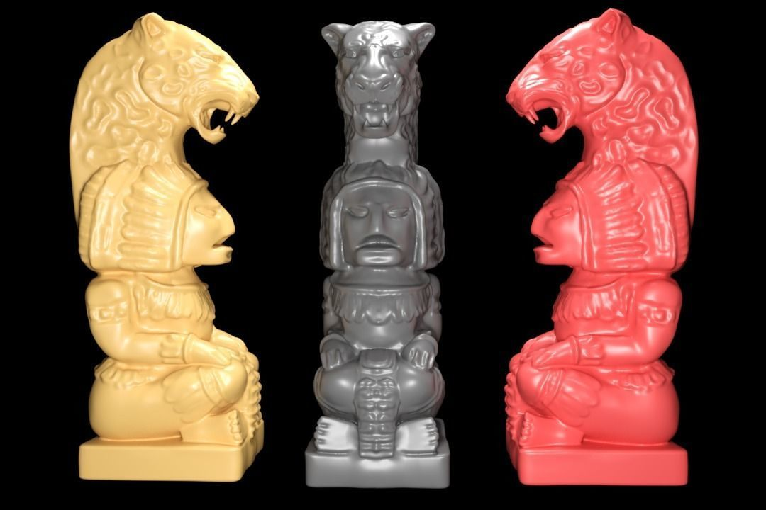 Mayan statue with jaguar head stl