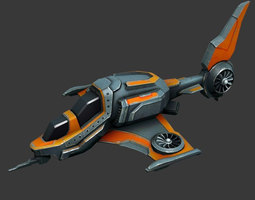 3D asset Sci-fi Spaceship - low poly
