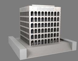 low-poly 3d model palazzo della civilta  italiana - square colosseum