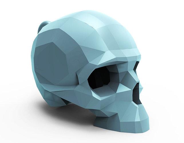 faceted skull pendant 3d model stl 1
