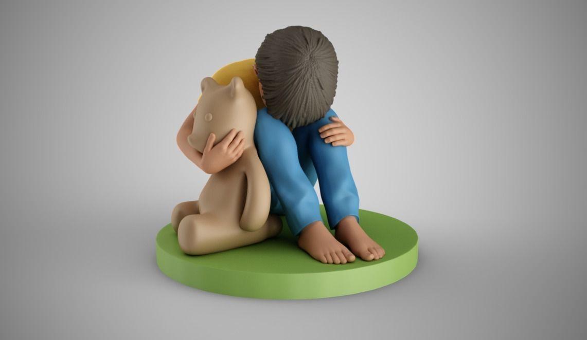 Sad Boy Head on Knees