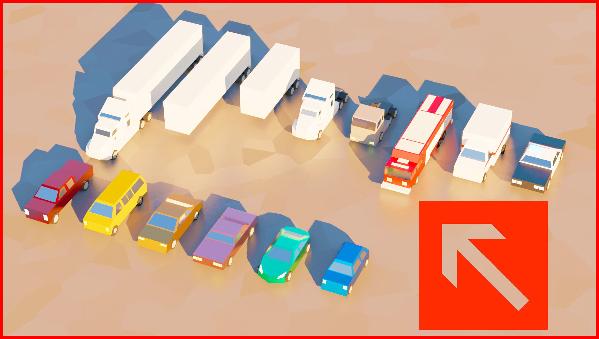 low poly toon cars pack vehicles 3d model
