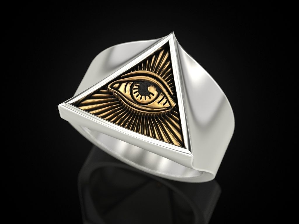 All seeing eye triangle ring