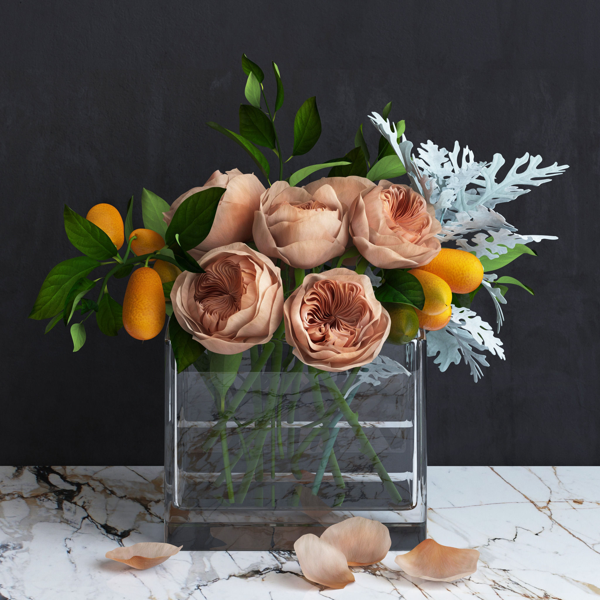 bouquet of austin roses kumquat branches and dusty miller plant 3d