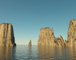 3D Landscape - rocky islands 01