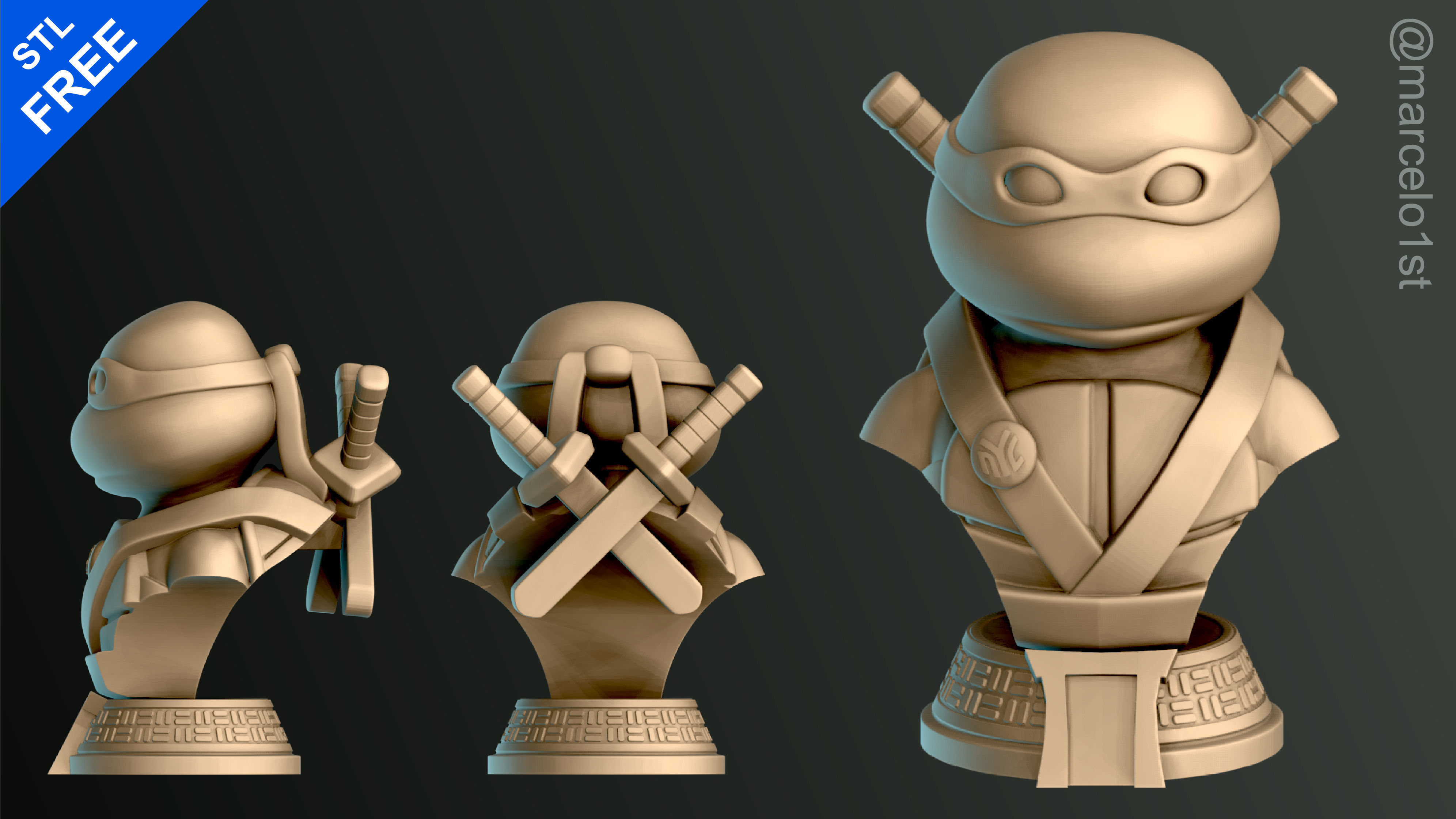 Turtle Warrior with Swords - Bust and a Container Base - FDM