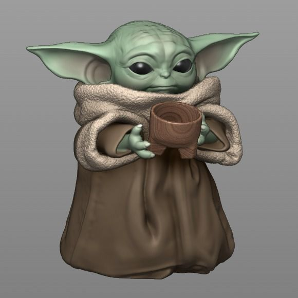 Baby Yoda With Cup - The Mandalorian