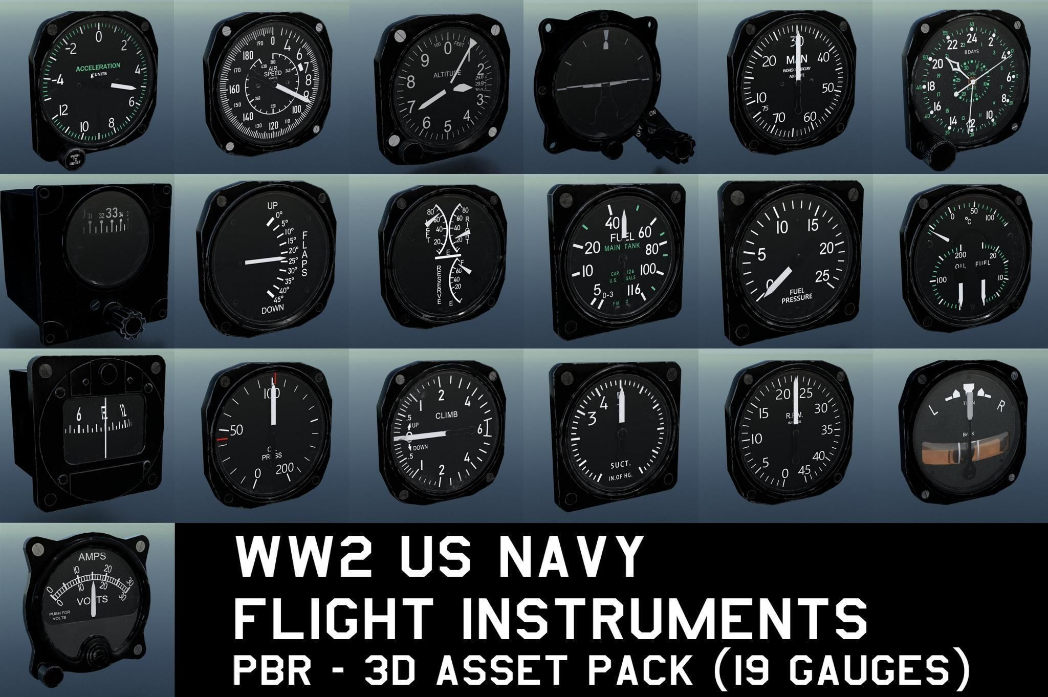 WW2 US NAVY FLIGHT INSTRUMENTS - ASSET PACK