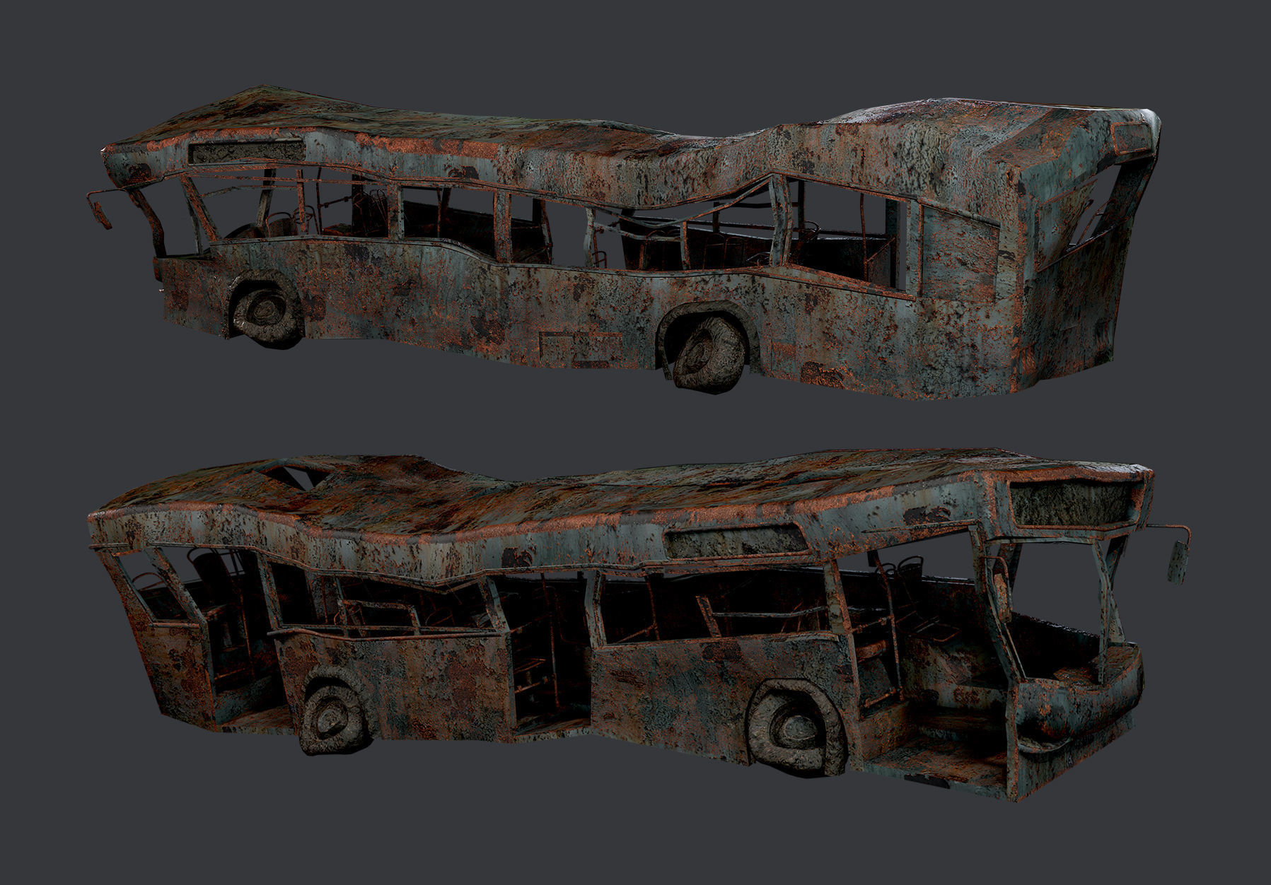 Apocalyptic Damaged Destroyed Vehicle Bus Game Ready 07