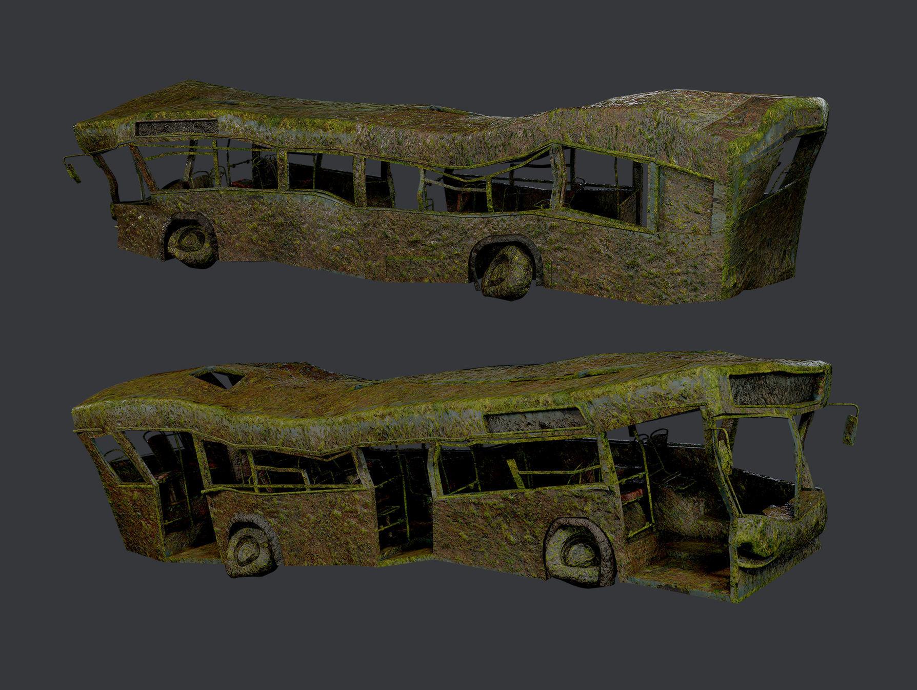 Apocalyptic Damaged Destroyed Vehicle Bus Game Ready 08