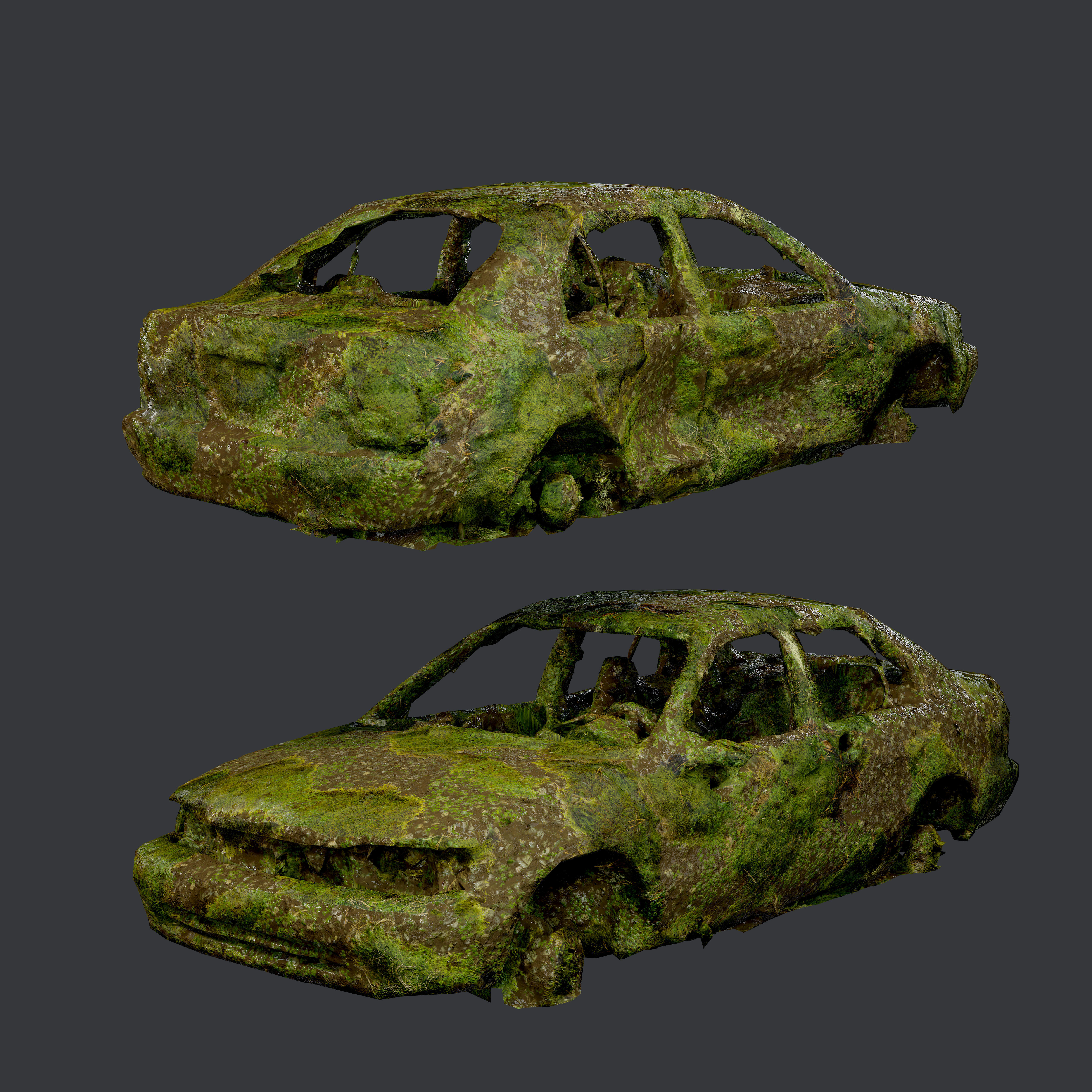 Apocalyptic Damaged Destroyed Vehicle Car Game Ready 05