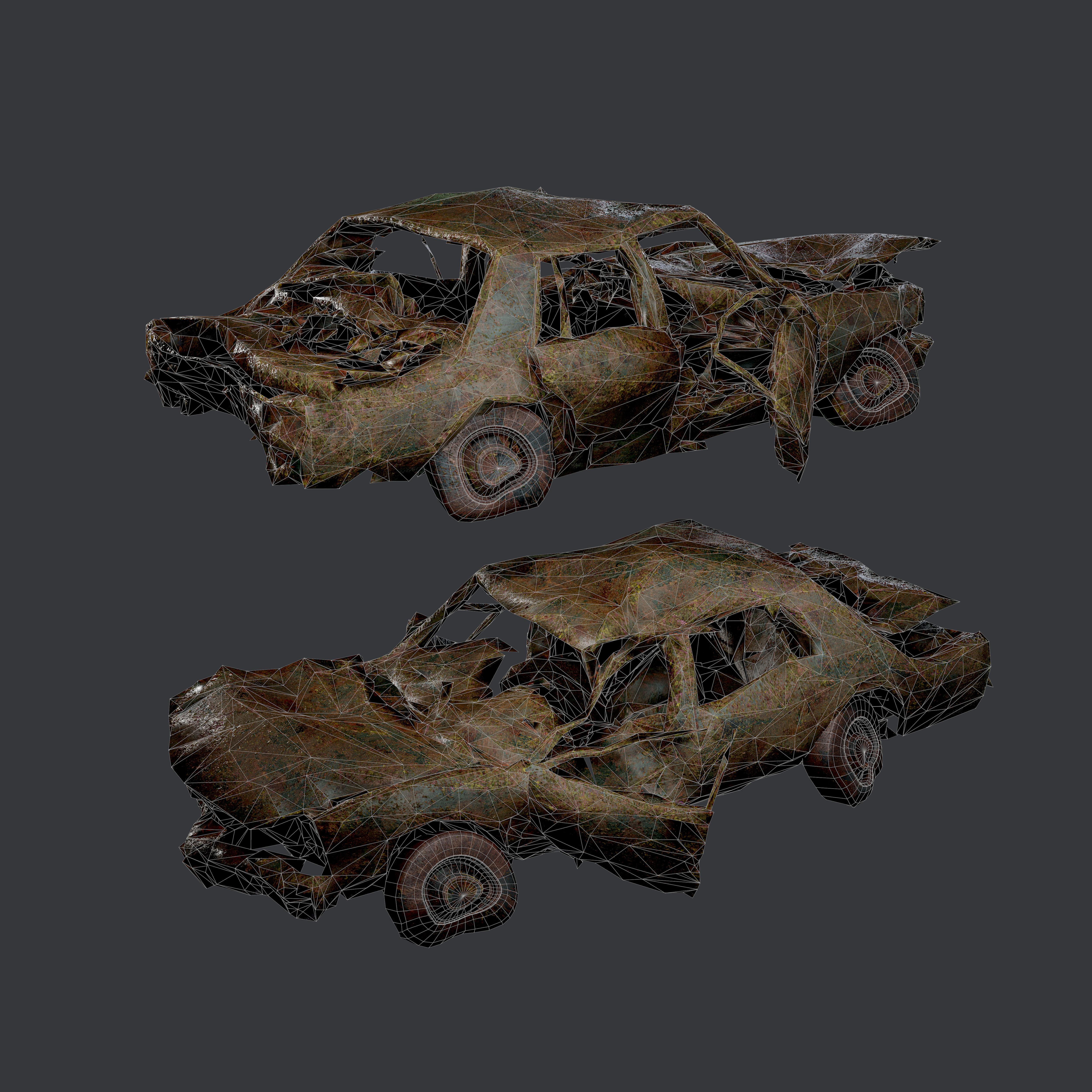 Apocalyptic Damaged Destroyed Vehicle Car Game Ready 14