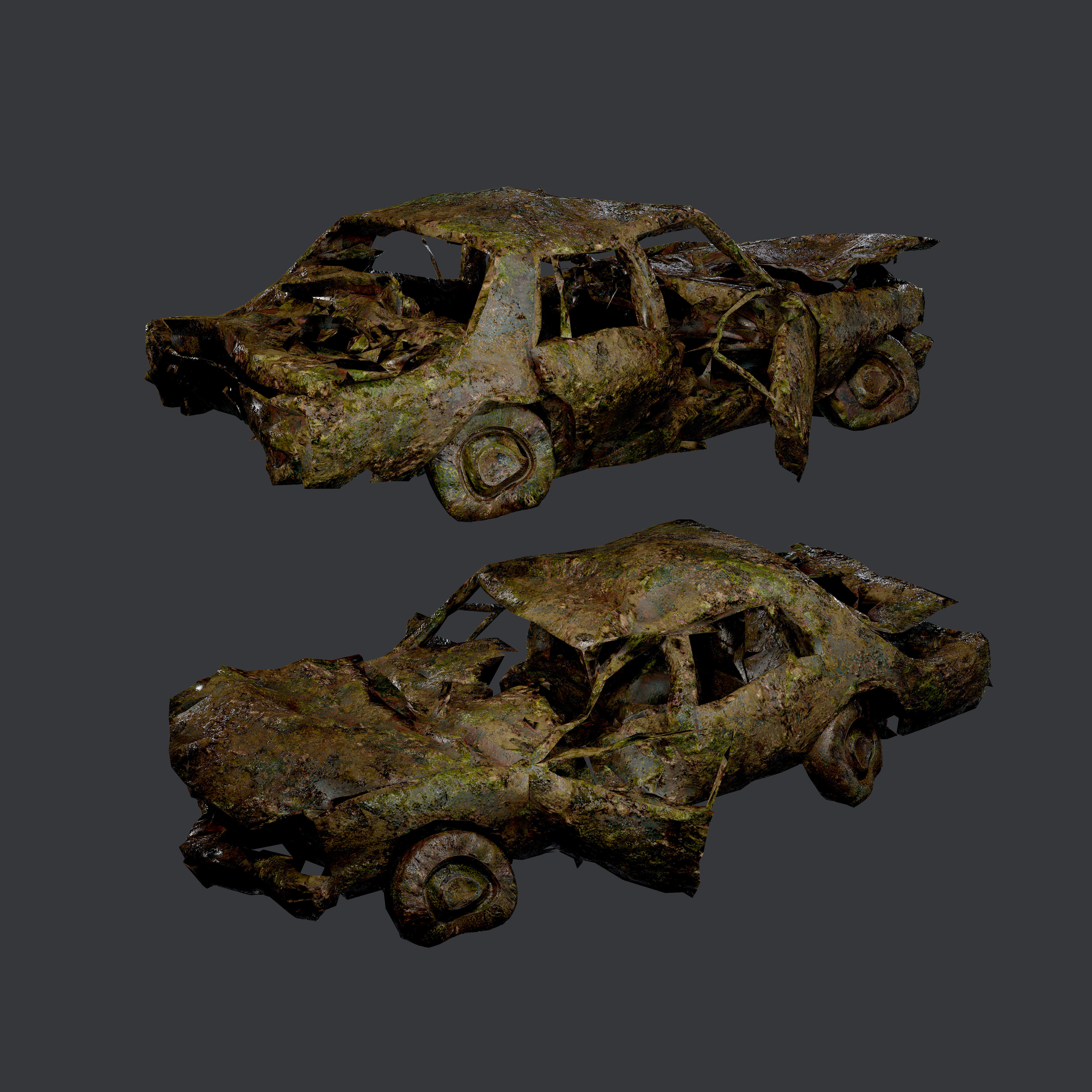 Apocalyptic Damaged Destroyed Vehicle Car Game Ready 16