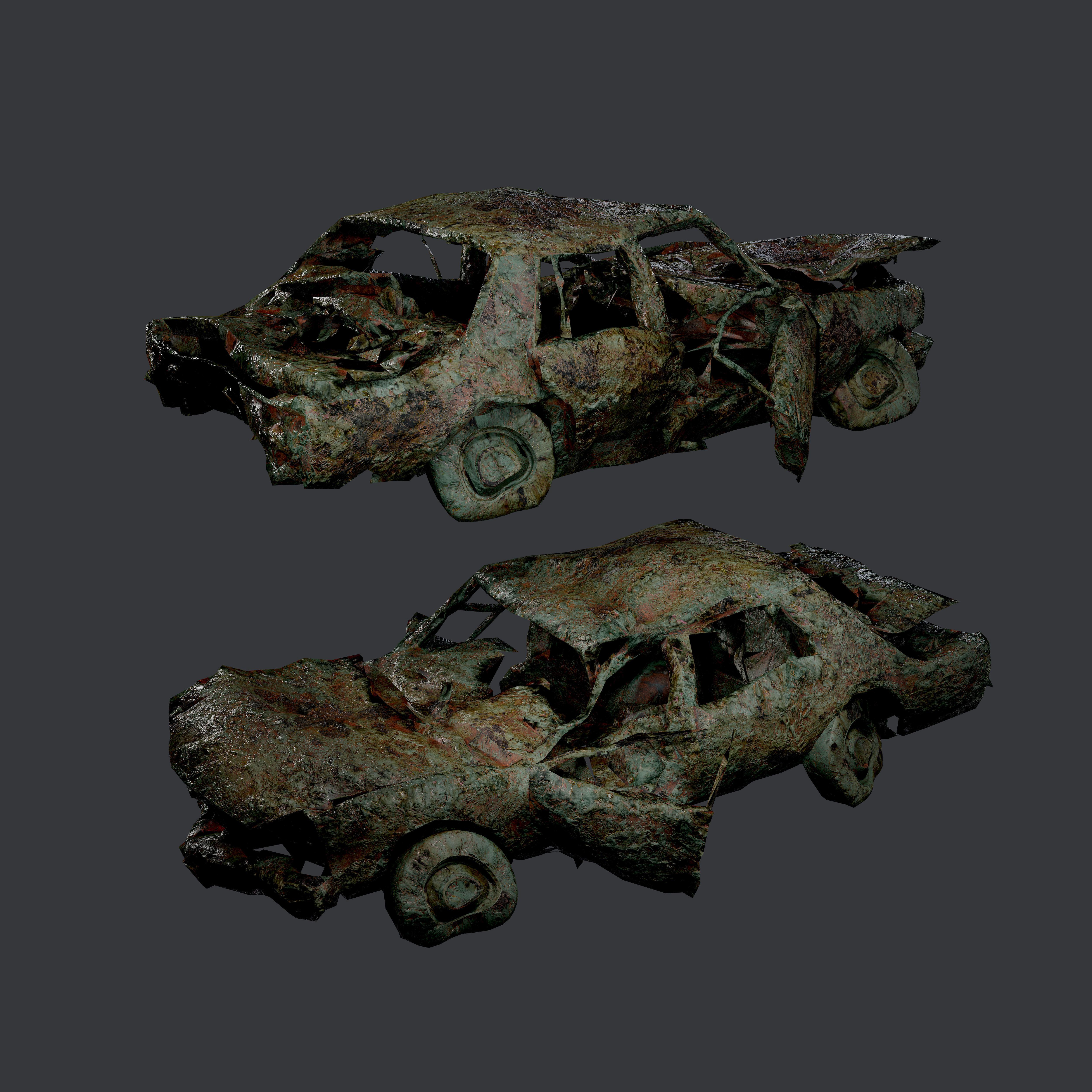 Apocalyptic Damaged Destroyed Vehicle Car Game Ready 18
