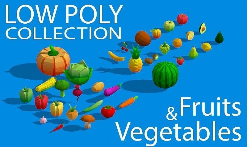 Low Poly Collection - Fruits And Vegetables