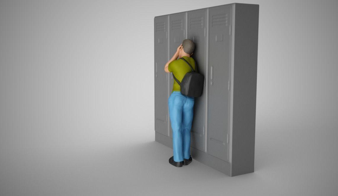 Sad Boy Leaning On Lockers