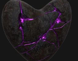 broken heart 2 3d model low-poly blend