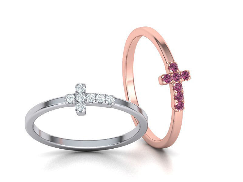 Cross Ring French Pave Setting ring 3dmodel 3D print model