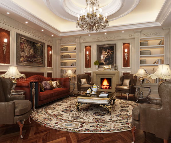 New Home Designs Latest Luxury Living Rooms Interior: Elegant Luxury Living Room 3D