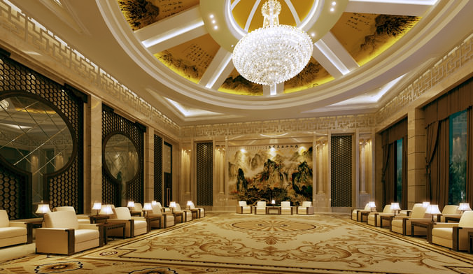 Luxury lobby hall 3d model cgtrader for Design hotel 3d